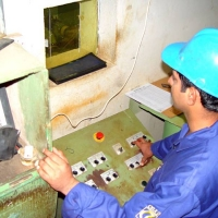 Pipe Plant End X-ray Station: Radiographer is Taking X-ray of the Pipe End.