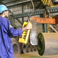 Handling of HR Coil at Our Pipe Plant