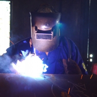 Repair Welding in Process at the Finishing Line Station of Our Pipe Plant